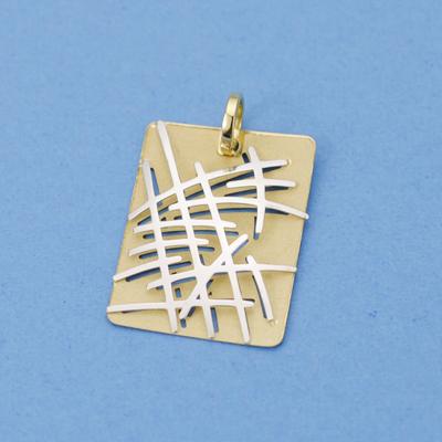 Colgante oro 18k bicolor enrejado-0