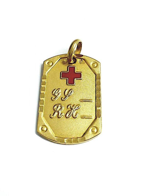 Colgante oro 18k alerta médica