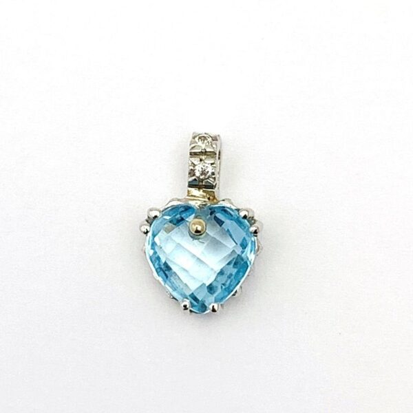 Colgante de oro blanco corazón azul