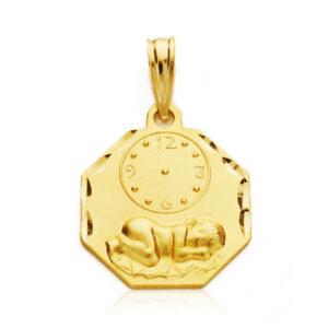 Medalla oro 18k bebé octogonal