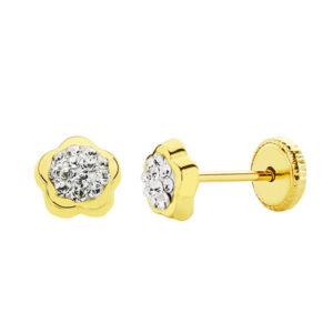 Pendientes oro flor pavé de circonitas