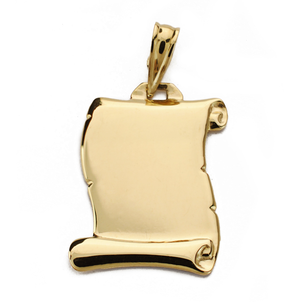 Colgante pergamino de oro