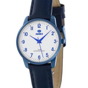 Reloj marea caja y correa piel azul marino