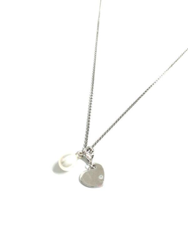 Collar de plata de ley perla corazón