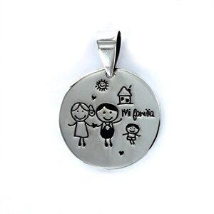Colgante de plata pareja con niño My Family-0