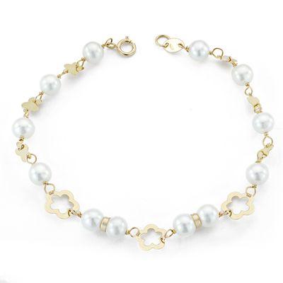 Pulsera oro perlas y flores-0