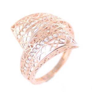 Sortija cruzada calada de plata chapada oro rosa-0