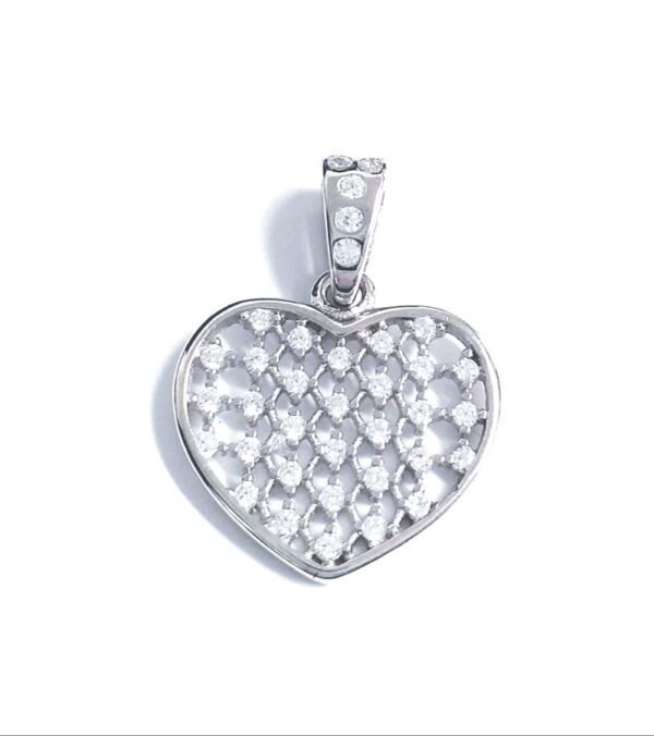 Colgante de plata corazón calado circonitas