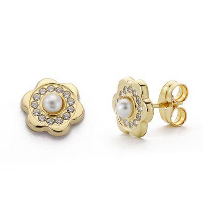 Pendientes oro flor perlita