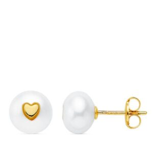 Pendientes oro 18k perla corazón