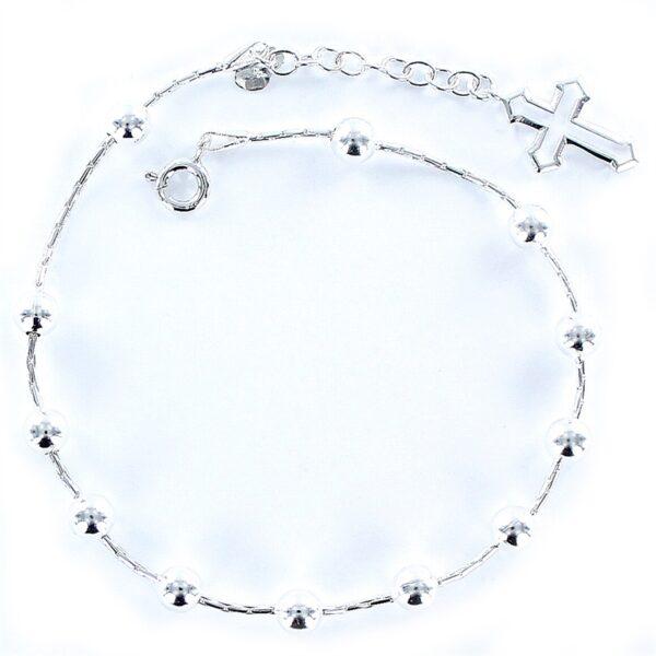 Pulsera plata rosario-0