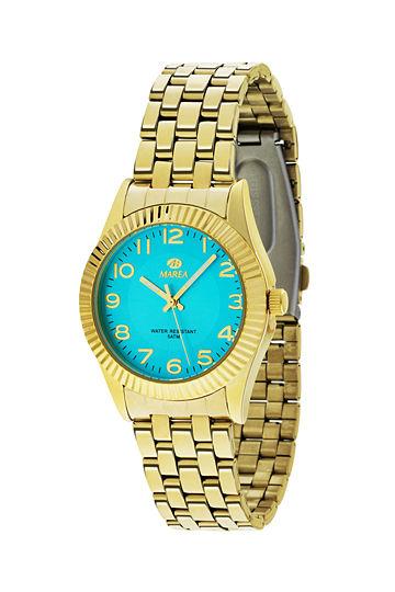 Reloj Marea chapado en oro esfera color turquesa