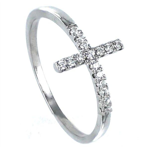 Anillo cruz circonitas plata