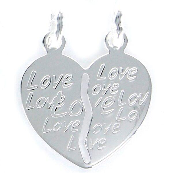 Colgante corazón partido plata de ley love