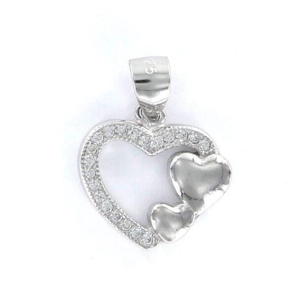 Colgante corazón plata de ley dos corazones