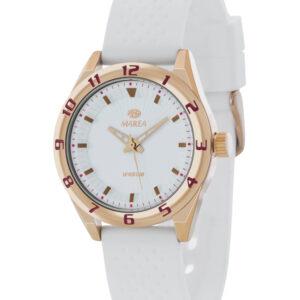 Reloj Marea de caucho blanco, chapado en oro rosa -0