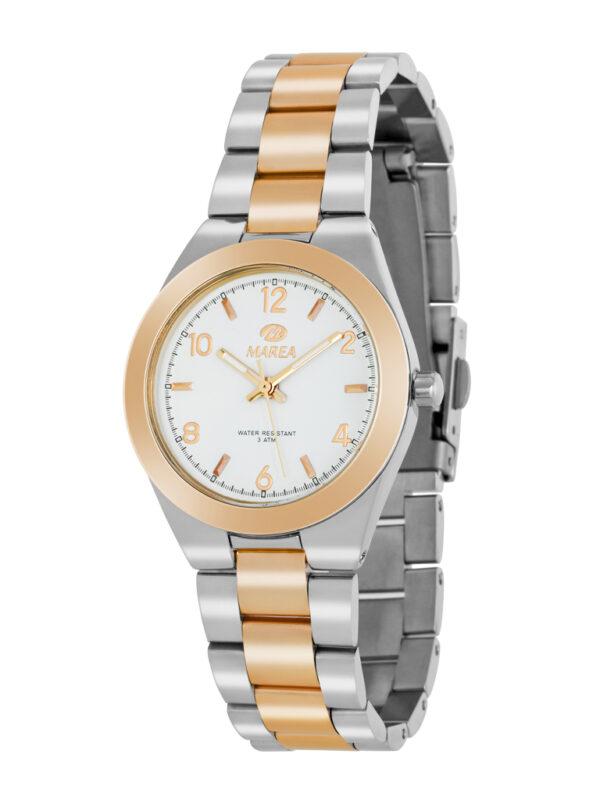 Reloj Marea metálico bisel chapado en oro rosa-0