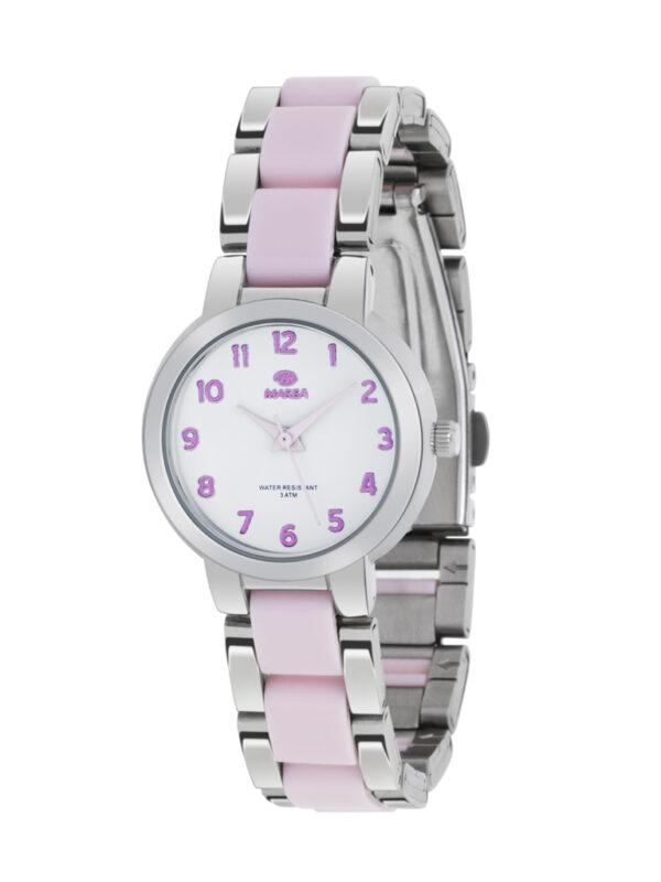 Reloj Marea metálico correa y números rosas-0