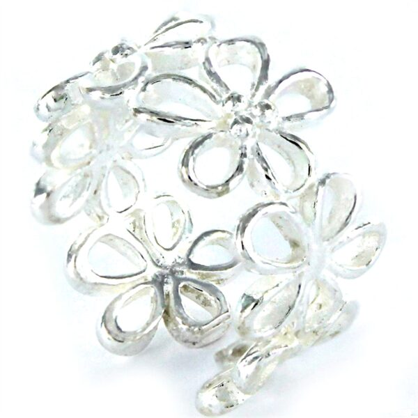 Anillo flores plata calado-0