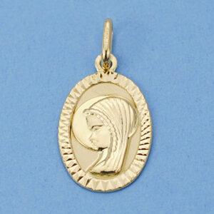 Medalla oro oval Virgen niña borde facetado