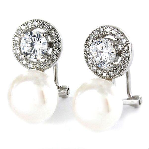 Pendiente tu y yo perla y plata con circonitas