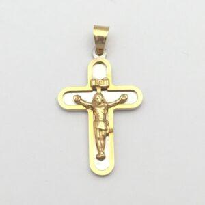 Cruz bicolor Cristo con relieve