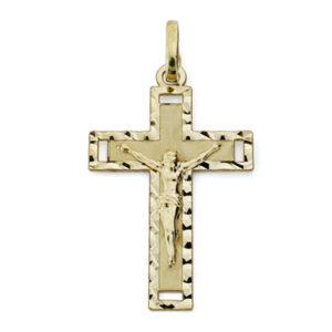 Cruz oro comunión plana tallada Cristo