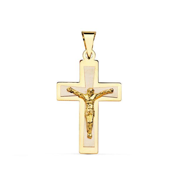 Cruz plana de oro bicolor con Cristo