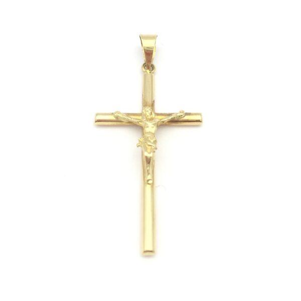 Cruz oro comunión tubo con Cristo
