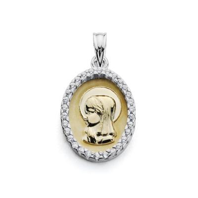 Medalla Virgen niña circonitas oro 18k