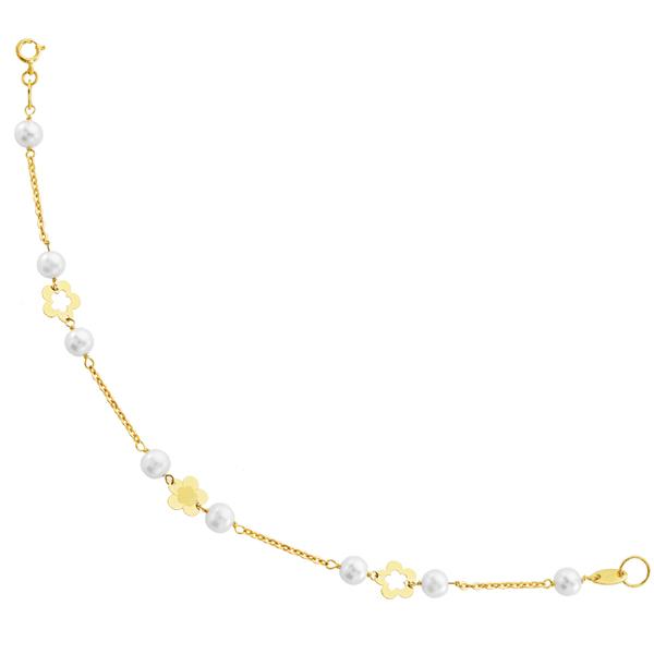 Pulsera oro cadenita perlas y flores-0