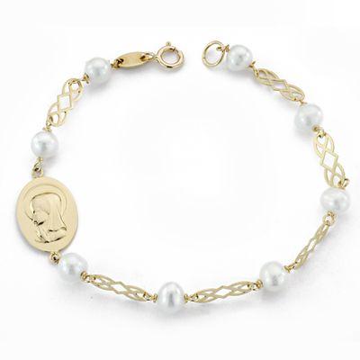 Pulsera de oro perlas Virgen niña