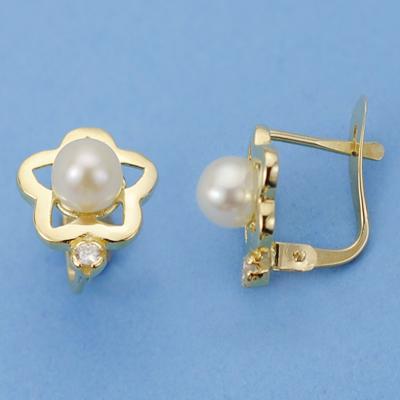Pendientes flor perla y circonita