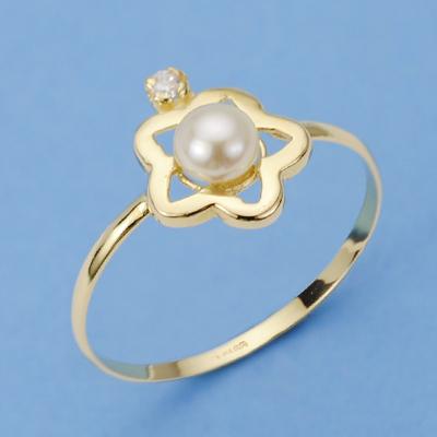 Sortija oro flor perla y circonita