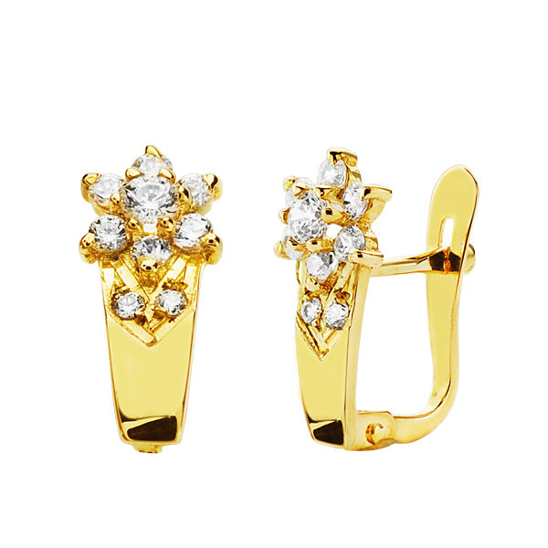 Pendientes oro flor circonitas