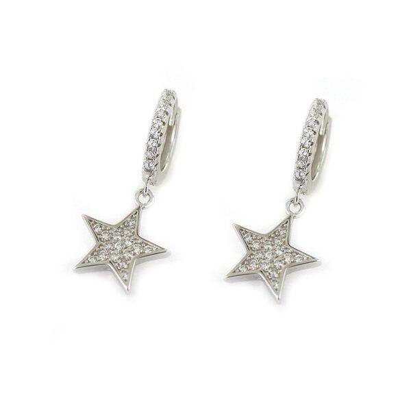 Pendientes plata de ley aro circonitas y estrella