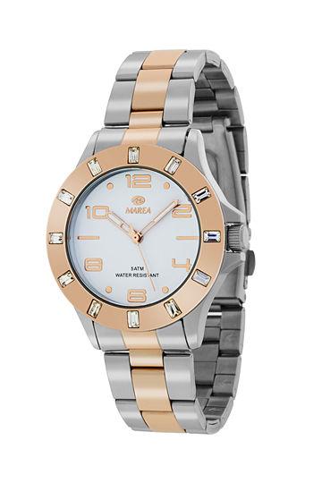 Reloj Marea bicolor bisel chapado en oro rosa con circonitas