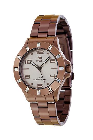 Reloj Marea pavonado marrón bisel circonitas