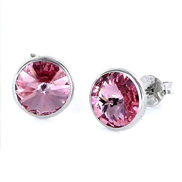 Pendientes plata swarovski redondo rosa
