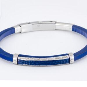 Pulsera Marea Jewel piel y acero cuadrada azul