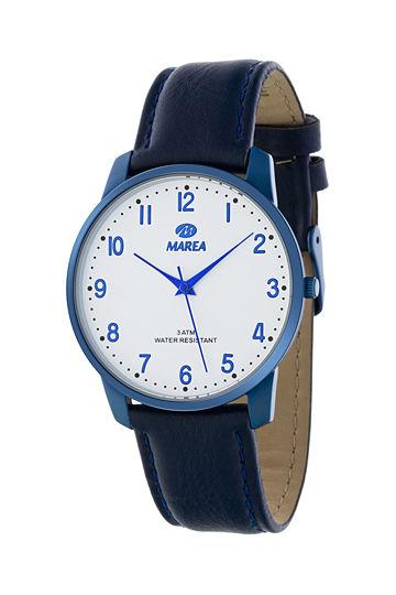 Reloj Marea unisex correa y caja piel azul marino