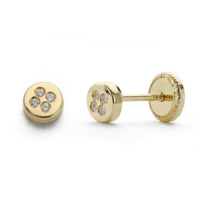 Pendientes oro círculo circonitas