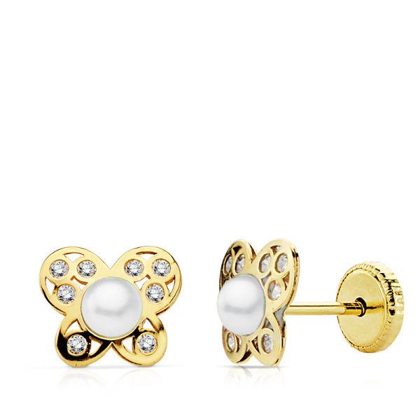 Pendientes oro mariposa perla