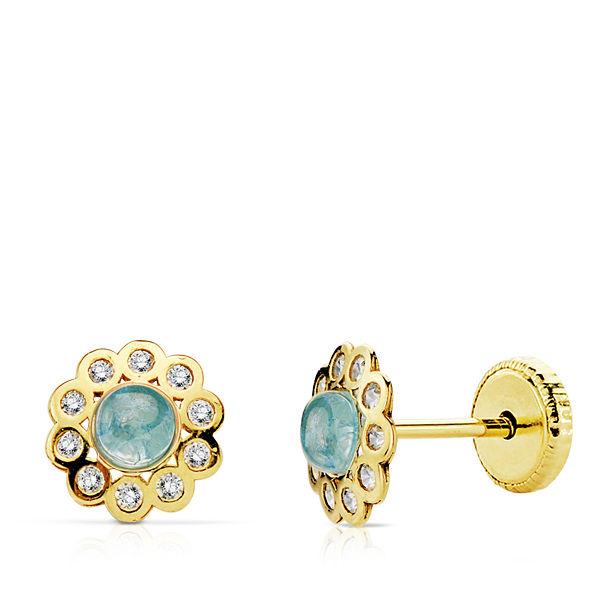 Pendientes oro piedra azul