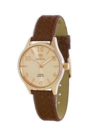 Reloj Marea de mujer correa piel trenzada marrón