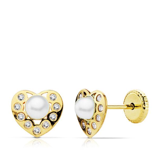 Pendientes oro corazón perla