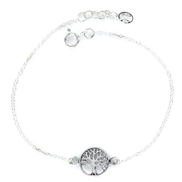 Pulsera plata cadenita disco árbol de la vida