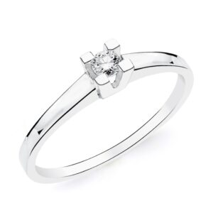 Solitario oro blanco con diamante