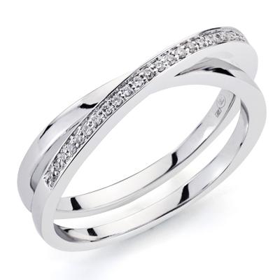 Sortija oro blanco cruzada diamantes