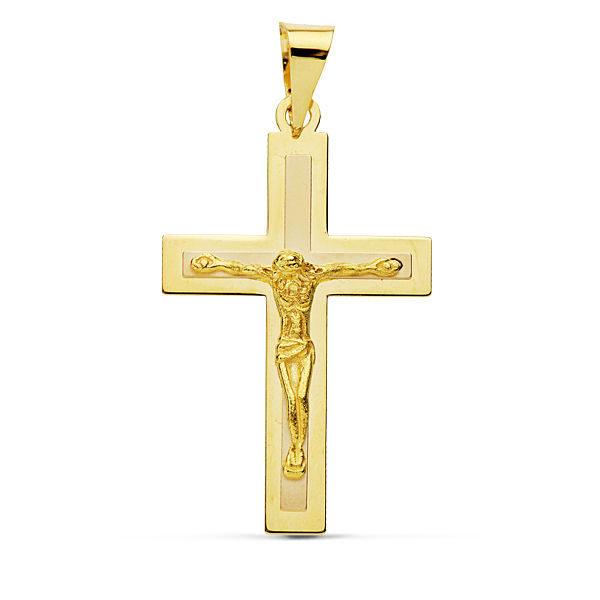 Cruz de oro plana con Cristo
